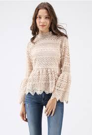 Madly In Love Full Crochet Peplum Top In Cream Retro