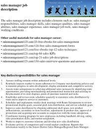 Sales Manager Job Description Performance Appraisal Sales