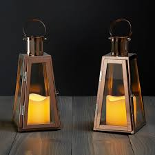 outdoor candle lighting. unique lighting rose gold glass paneled flameless lantern with timer set of 2 and outdoor candle lighting