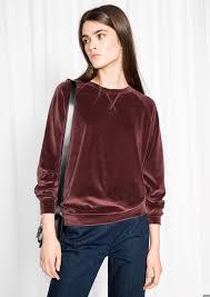 & Other <b>Stories</b> image 2 of Velour Sweatshirt in Plum   Velvet clothes ...