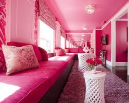 romantic pink living room with long pink sofa pink ceiling and white