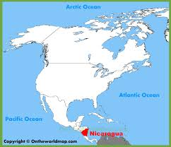 nicaragua location on the north america map