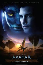 avatar film  avatar on the upper half of the poster are the faces of a man and a female
