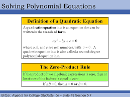 blitzer algebra for college students 6e slide 3 section 5 7 solving polynomial