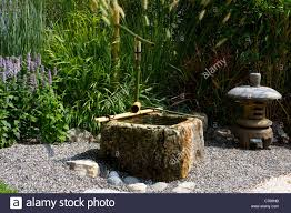 Japanese Garden Plants Japanese Garden With Water Bamboo Path Of Pebbles Plants Stock