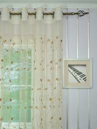 Elbert Floral Pattern Embroidered Grommet White Sheer Curtains Panels  Online Heading Style Elbert Floral Pattern Embroidered Grommet White Sheer  Curtains ...