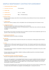 Free Independent Contractor Agreement Form Download It Resume