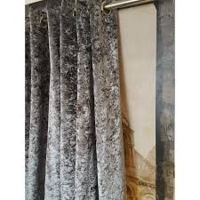 huge heavy silver crushed velvet 126 d 128 w blackout lined eyelet bay curtains