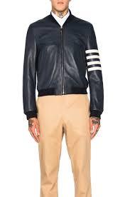 image 2 of thom browne ed deer skin varsity jacket in navy