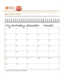 Free Printable 30 Day Countdown Calendar Monthly Birthday Template