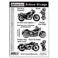 darkroom door classic motorcycles red rubber cling stamps
