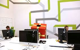 graphic design office. media spot wall line graphic design office d