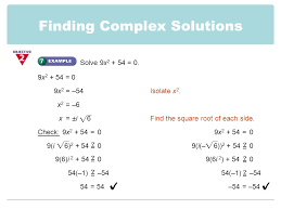 finding complex solutions