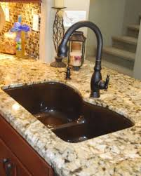 kohler vinnata faucet in oil rubbed bronze with kohler langlade sink in black tan in genisis granite sinks faucets oil rubbed bronze