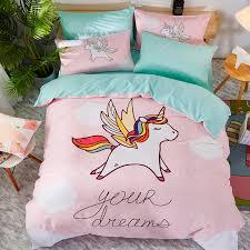 lovely cartoon unicorn girl dinosaur printing 100 cotton bedding set duvet cover bed linen bed sheet pillowcases gift for child girl bedding sets boys