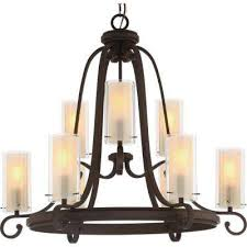 regina 9 light antique bronze indoor hanging chandelier with clear glass outer and