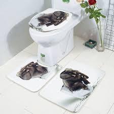 honana bathroom rug mats set 3 piece 3d elephant printed flannel soft anti slip shower bath toilet rugs combination cod
