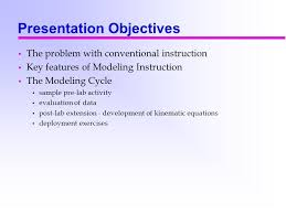 instruction the modeling cycle sample pre lab activity evaluation of data post lab extension development of kinematic equations deployment exercises