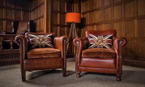f50 1109 pair tetrad camford keats antique tan leather chesterfield club chairs