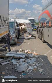 Semi Trucks Camper Trailer Traffic Accident Highway — Stock Photo ...