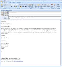 Email Cover Letter Email Job Application Attached Cover Letter And
