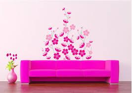 Purple Flower Wallpaper For Bedroom Pink Sakura Wall Art Decor Sticker Romantic Flowers Wallpaper