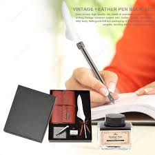 retro feather dip pen writing ink notebook set founn pens gifts white