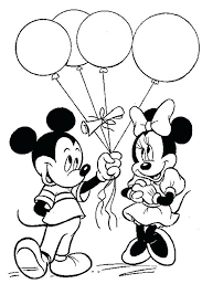 Minnie And Mickey Coloring Pages Got Balloons From Mickey Coloring