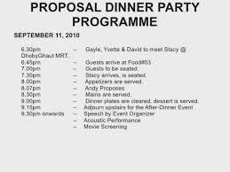 Christmas Program Sample Dinner Party Program Plans For A Surprise Proposal Christmas