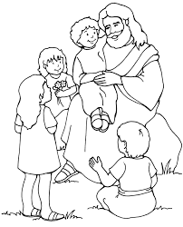 Small Picture Jesus and the Children Coloring Page