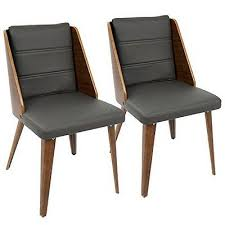 galanti mid century modern dining chair in walnut wood and grey pu set of
