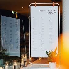 Hanging Chart Stand Picture Of A Simple White Metal Stand With A Seating Chart