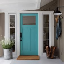 recessed front door. firewood door entry farmhouse with turquoise white recessed light trims front