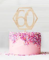 Happy 60th Birthday Birch Wood Cake Topper Lissielou