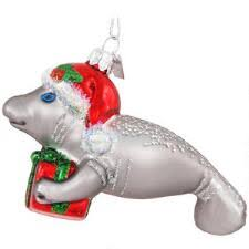 Manatee With Santa Hat Glass Ornament