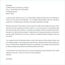 Medical Assitant Cover Letter Cover Letters For Medical Assistants