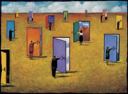 many open doors.  Open Many People Opening Doors To Open N