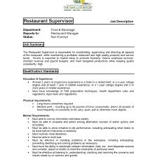 Restaurant Supervisor Job Description Resume Amazing Restaurant Supervisor Duties And Responsibilities Resume 20