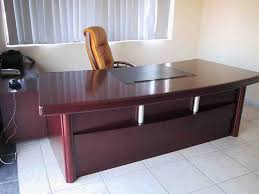 wooden office tables. Designer Office Table White Black Wall Paints Colors Grey Color Wheeled Chair Mounted Lamps L Shape Dark Brown Wooden Tables