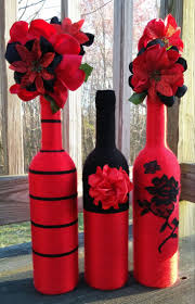 Yarn bottles, Red Vase Set, Flower Vases, Centerpieces, Home decor, home