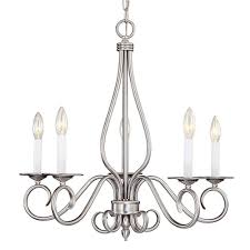 illumine 5 light pewter chandelier with white candle covers