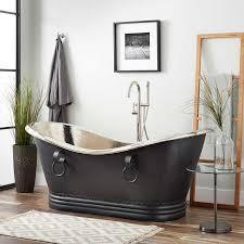 72 sawyer hammered copper double slipper tub nickel interior antique black