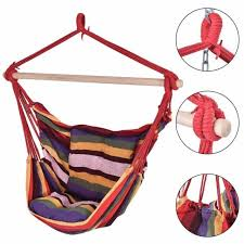 new garden hammock chair hanging swing seat with cushion outdoor cing uk