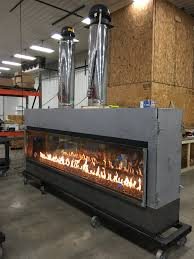 acucraft custom gas linear see through commercial fireplace