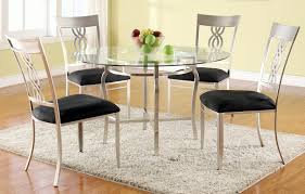 Metal Glass Dining Table Round Glass Dining Table Set For 4 Kitchen Table Chairs 5 Piece