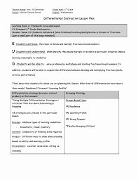 Differentiated Instruction Lesson Plan Template Differentiated Lesson Plan Template Mathosproject