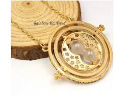 harry potter time turner hourglass necklace gold