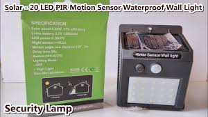 Solar - 20 <b>LED</b> PIR Motion Sensor <b>Waterproof</b> Security <b>Lamp</b> / Wall ...