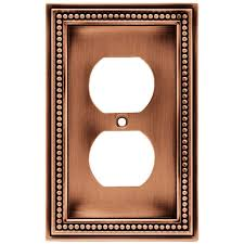 copper outlet covers.  Outlet Liberty Beaded Decorative Single Duplex Outlet Cover Aged Brushed Copper In Covers M