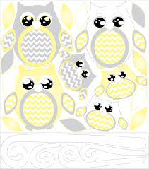 description yellow owl wall decals